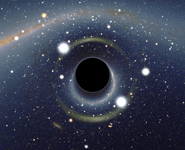 1 Vista simulada de um buraco negro em frente à Grande Nuvem de Magalhães. Creative Commons