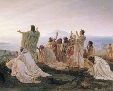 1 Grupo de pitagóricos celebrando o nascer do sol. Domínio público.