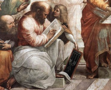 1 Pitágoras, detalhe da Escola de Atenas, de Rafael Sanzio. Domínio público. Recortada